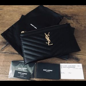 🎉HP🎉 Yves Saint Laurent-NWT Black Leather Clutch